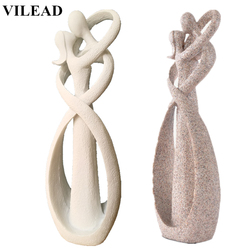 VILEAD 9 Inch Sandstone White Kissing Lover Figurines Wedding Decoration Anniversary Souvenirs Vintage Home Decor Christmas Gift