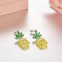 925 Sterling Silver Pineapple Earrings Brand Tropical Fruit Stud Earring for Women Girl Gift Hypoallergenic Wedding Jewelry