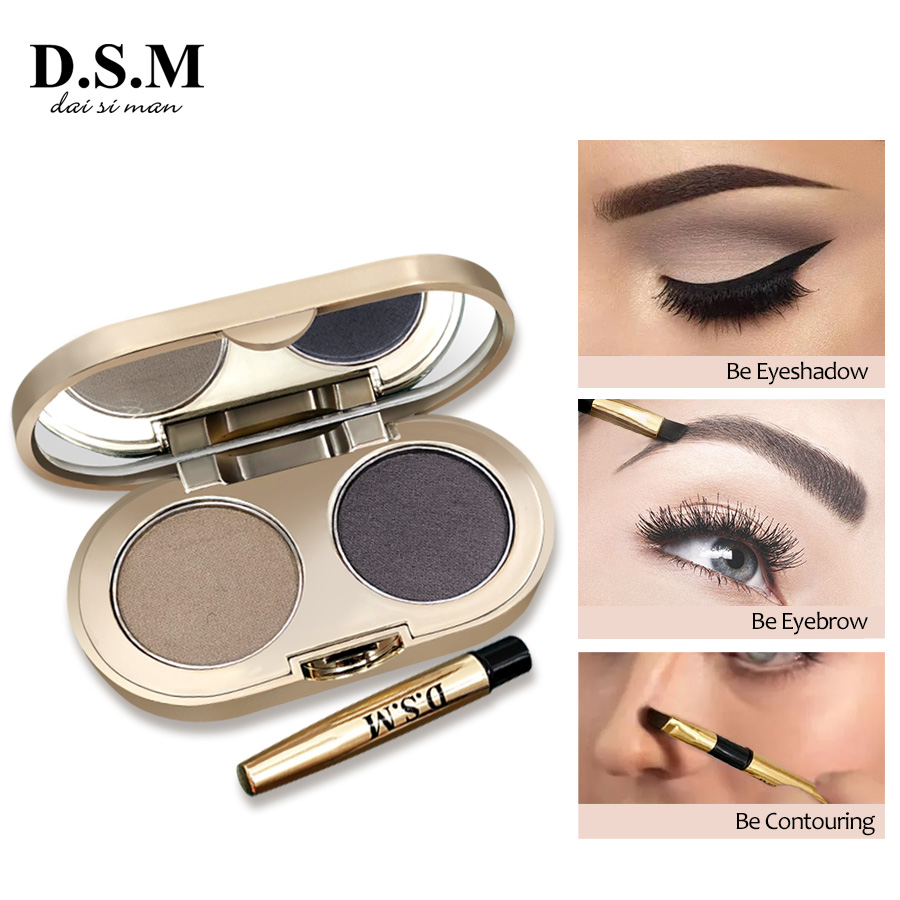 D.S.M Professional Eyebrow Powder 2 Colors Waterproof Eyebrow Non-smudge Eye Brow Makeup Eyeshadow Palette Cosmetics Makeup Kit