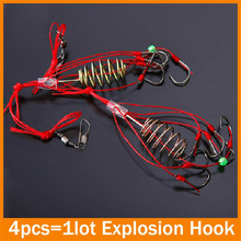 High quality 4 PCS/Lot Capture off ability fishing hook explosion hook fishing lure tackle box 6 – 12# Carbon Steel