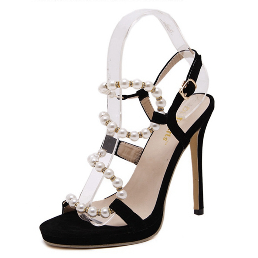 ФОТО Women Fashion Pearl Ankle Strap Sandals Sexy High Heels Party Shoes Woman Stiletto Pumps ZG1068-5