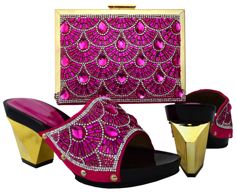 5c01194f28621 Hot sale fuchsia women pumps and bag set with big crystal african shoes  match handbag set