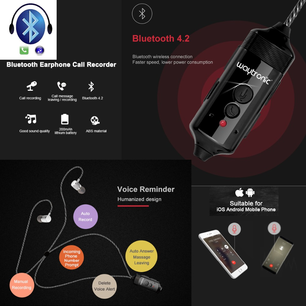 New Wireless Bluetooth Headset Phone Conversation Call Recording Earphone for iPhone Android Smartphones 512MB Voice Recorder image