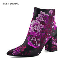 2018 Spring Elegant High Heel Ankle Boots Women Luxury Brand Pointed Toe Boots Women Embroidery Haft Short Botas big Size 32-43