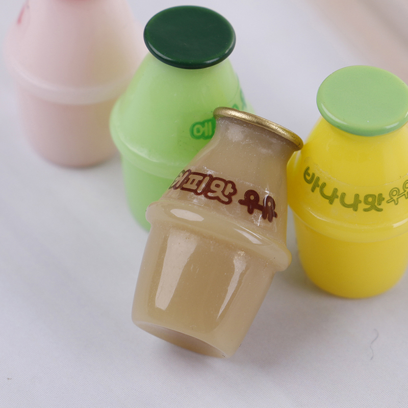 4Pcs Kitchen Accessories 1:12 Dollhouse Miniature Mini Yakult Juice Milk Cup Milk Cup Resin Drinking Water Cups Water Play