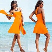 Oranje Sexy Gewaad Vrouwen Strand Jurk Feestavond Mini Mouwloze Badpak Cover Ups Wrap Multi Manier Halter Dragen HQVB007