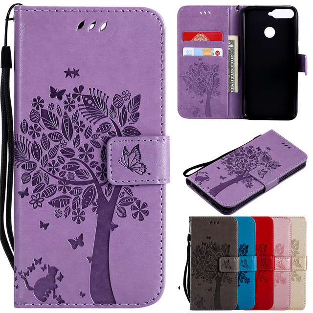Honor 7A Pro Leather Case on for Fundas Huawei Honor 7A Pro Prime Case 3D Tree Case for Huawei Y6 2018 Wallet Flip Magnetic Case