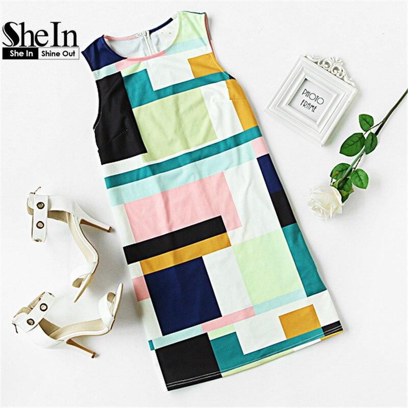 Shein verano vestidos casuales para mujer  nuevas señoras multicolor crew neck s