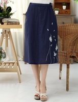 Brand New Red Chinese Women S Cotton Linen Skirt Printed Floral Long Pleated Skirt Elegant Flared