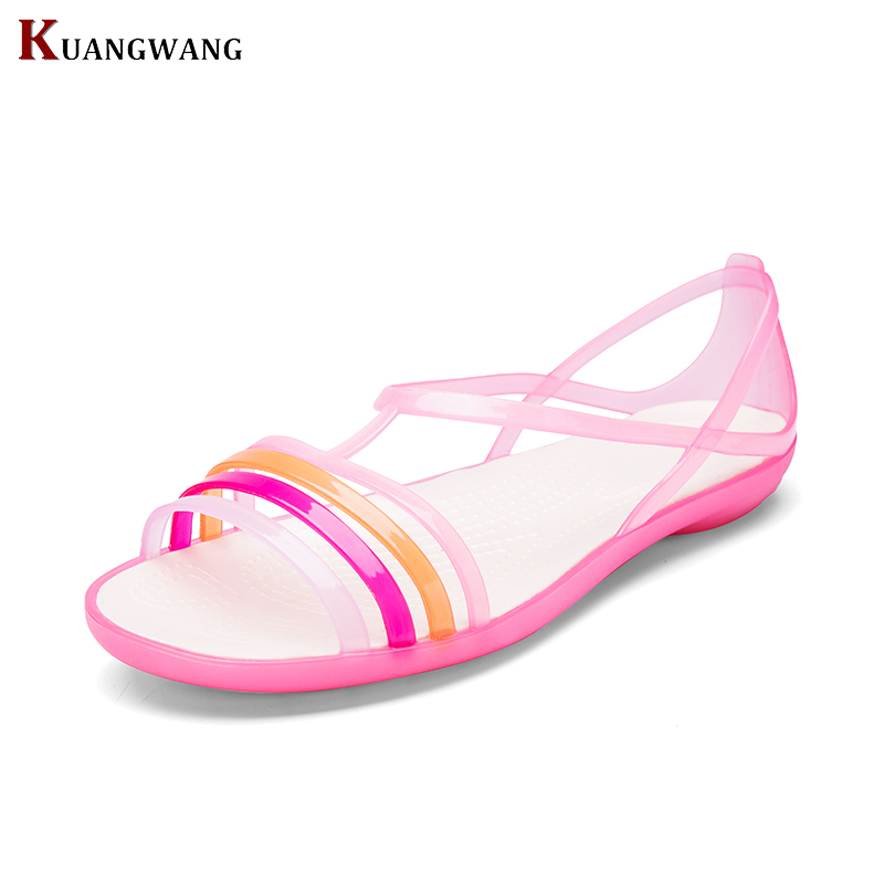 Women Sandals 2018Summer New Candy Color Women Shoes Beach Valentine Rainbow Croc Jelly Shoes Woman Flats free shipping candy color jelly sandals new plastic chain beach shoes chain flat bottomed out sandals lace up chains women shoes