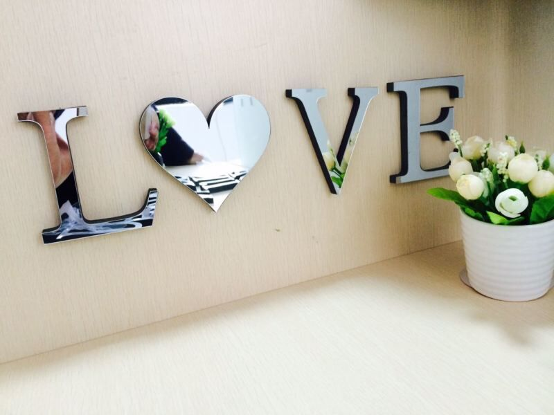 3d Mirror Wall Stickers Wedding English Love Letters Home Decoration Alphabet Home Decor Logo For Wall 10cmx8cmx1 2cm Thick