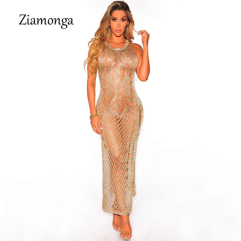 Ziamonga 2017 Vestido De Festa Sexy Knitted Crochet Long Dress O Neck Sleeveless  Party Dresses Elegant fdd6ab8d75e0