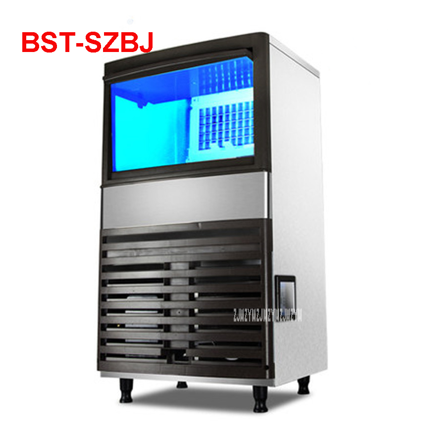 BST-SZBJ 220 V/ 50 Hz Ice Machine Commercial Milk Tea Shop Home Small Automatic Ice Machine Large Capacity 68-98kg/24h Ice Maker