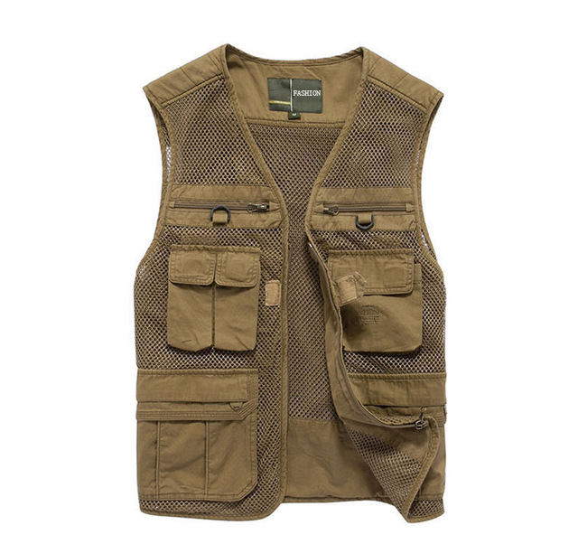 Khaki Travel Vest Photography Clothing Summer Shooting Mesh Vest With Pockets Journalist Army Green Military Reporter Waistcoat