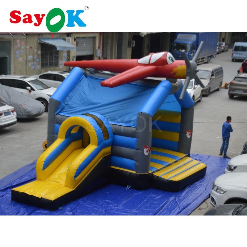 Glissière gonflable gonflable de château plein d'entrain d'avion enfants gonflables glissent le Trampoline gonflable de glissière de videur avec le ventilateur