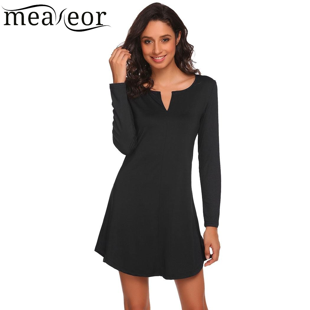 e1c62015282a Meaneor Women Casual Dress Long Sleeve Solid V Neck Basic Flowy Tunic Slim  Sexy Mini Dresses Above Knee dress vestido 2017 New-in Dresses from Women s  ...