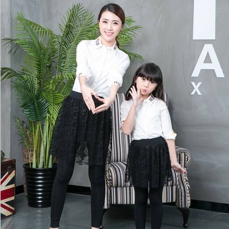 family clothing mother daughter outfits Family Look Mother and Daughter lace cotton pants skirt matching mother daughter clothes