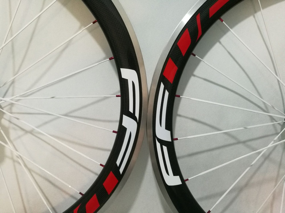 F5R White Red Painting 700C Road bike 38 60 50mm clincher rims 3K carbon bicycle wheelsets with alloy brake surface aero spokes
