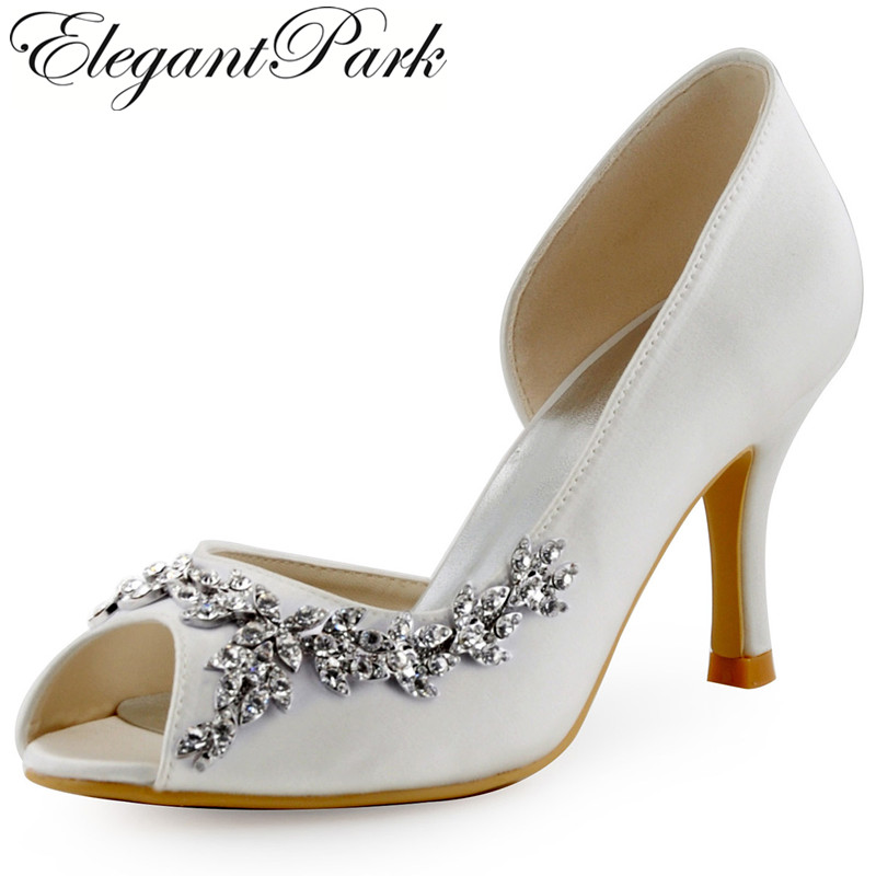 Ivory White Women Wedding Shoes High Heel Rhinestones Buckle Peep Toe Satin  Lady Bride Prom Dress