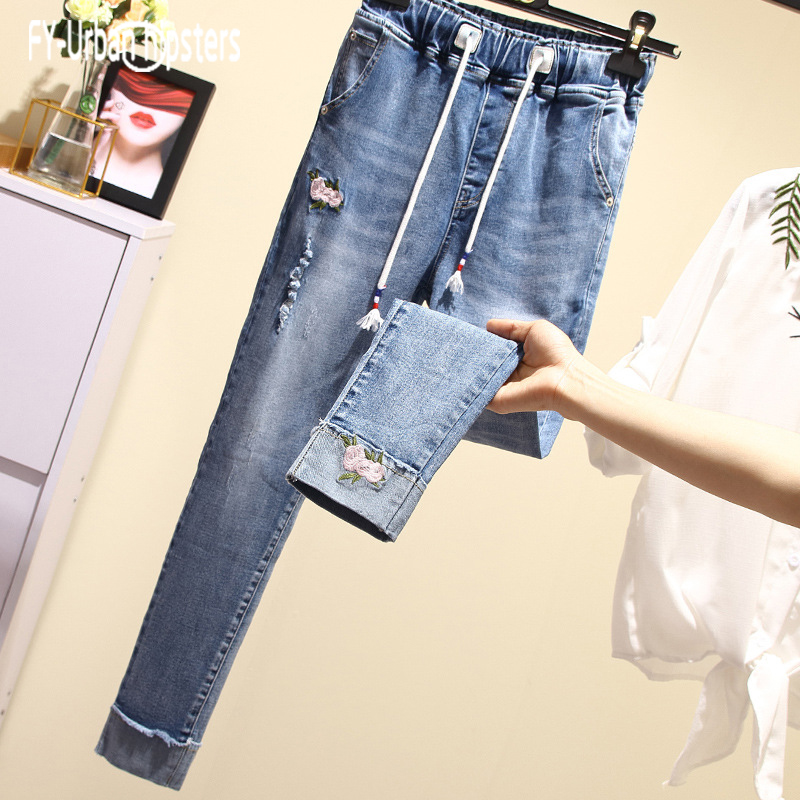 flower embroidered elastic   jeans   woman plus size Lace up   jeans   loose Cuffs blue harem pants Ankle-Length Hole denim Trousers