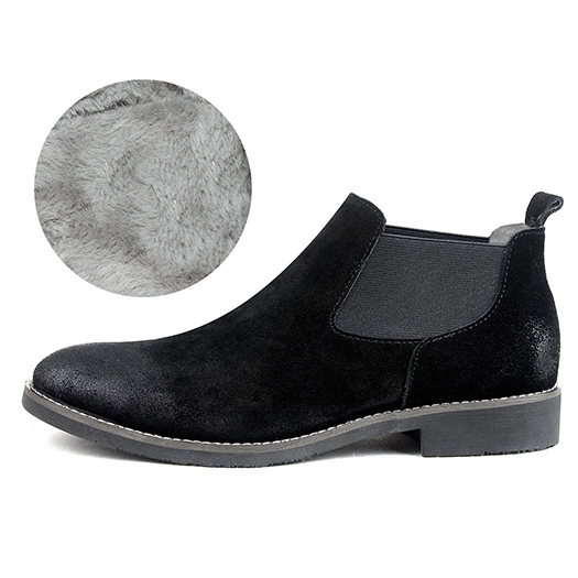 Short European Winter Full Grain Leather Booties Chelsea Ankle Boots Luxury Shoes Black Fur Genuine Comfortable 2017 Fashion