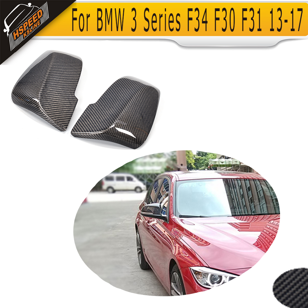 3 Series Carbon fiber Side Mirror Covers for BMW F34 GT Hatchback standard F30 F31 13-17 Convertible M Sport Non M LHD White ABS