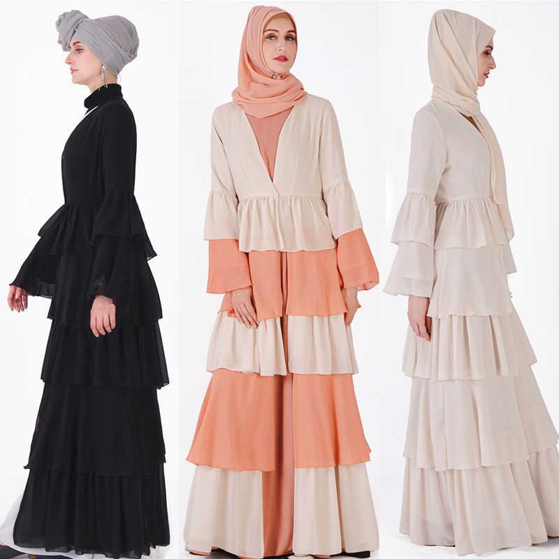Abaya 두바이 Kaftan Hijab 이슬람 복장 말레이시아 시폰 카디건 Jilbab Caftan 라마단 Abayas 여성용 터키 이슬람 의류