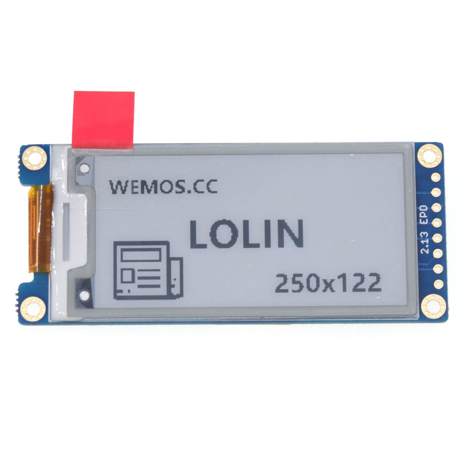 EPaper 2.13 Shield V1.0.0 For LOLIN (WEMOS) D1 Mini D32 - 2.13 Inch 250X122 SPI EPaper/eInk Module IL3897