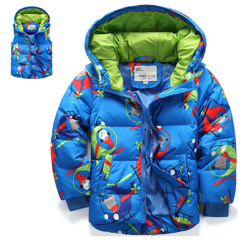 ФОТО 2016 Winter Kids Boys & Girls Jacket Coat Clothes Fashion Character Hooded Thick Detachable Cap And Sleeve Outerwear For 2-8T