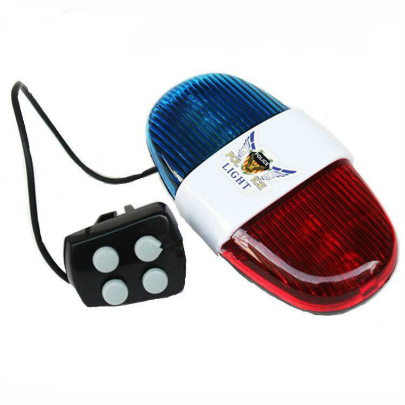 Bike Bicycle 6 Flashing LED 4 Sounds For Police Siren Trumpet Horn Bell Light