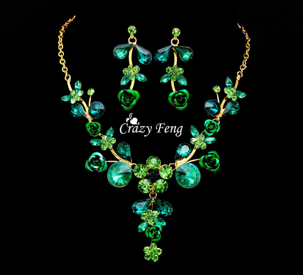 Newest Wedding Jewelry Sets For Women Goldcolor Flower Necklace Earrings  Set 6 Colors Zircon