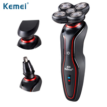 Original KM-6181 360 Degrees Rotary 3 in1 Electric Shaver Floating 4D Shaving Man Face Care Nose Ear Hair Trimmer