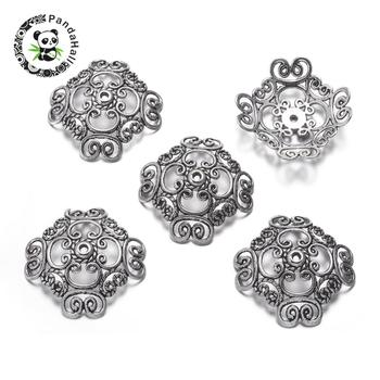 Tibetan Silver Bead Caps, Lead Free & Cadmium Free, Flower, Antique Silver, about 32mm long, 32mm wide, 2mm thick, Hole: 2mm