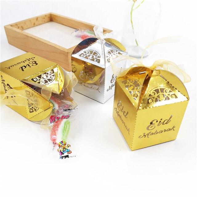10 cái/lốc Vàng Bạc Chúc Mừng Eid Mubarak Kẹo hộp quà tặng ramadan trang trí Hồi Giáo bên hạnh phúc Eid Mubarak diy trang trí