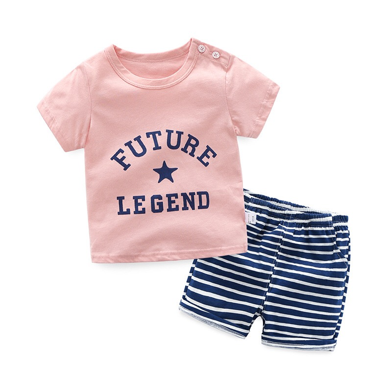 2018 New Boy Gown Trend Boy/Woman Set Child White English Letter Brief-sleeved T-shirt + Stripe Shorts Boys Clothes 5024 Clothes Units, Low-cost Clothes Units, 2018 New Boy Gown Trend...