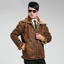 цена на Men Suede Leather Winter Warm Fur Lined Motorcycle Thick Coat Outwear Jacket F7