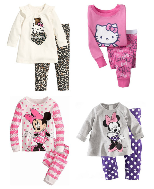 7a82fcebb Hot 2pcs Ropa de Bebe Cartoon T shirt Top Pants Pajamas Pyjama ...