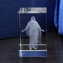 Церковные свадебные сувениры, хрусталь, куб Иисуса, 3D кристаллы кварца с лазерной гравировкой, статуи Иисуса святого, христианские украшения