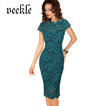 VEEKLE 2017 Summer Woman Elegant Vintage Office Work See Through Hollow Out Delicate Lace Dress Cap Sleeve Mother Of Bride Black short dresses office wear