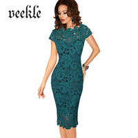 VEEKLE 2017 Summer Woman Elegant Vintage Office Work See Through Hollow Out Delicate Lace Dress Cap