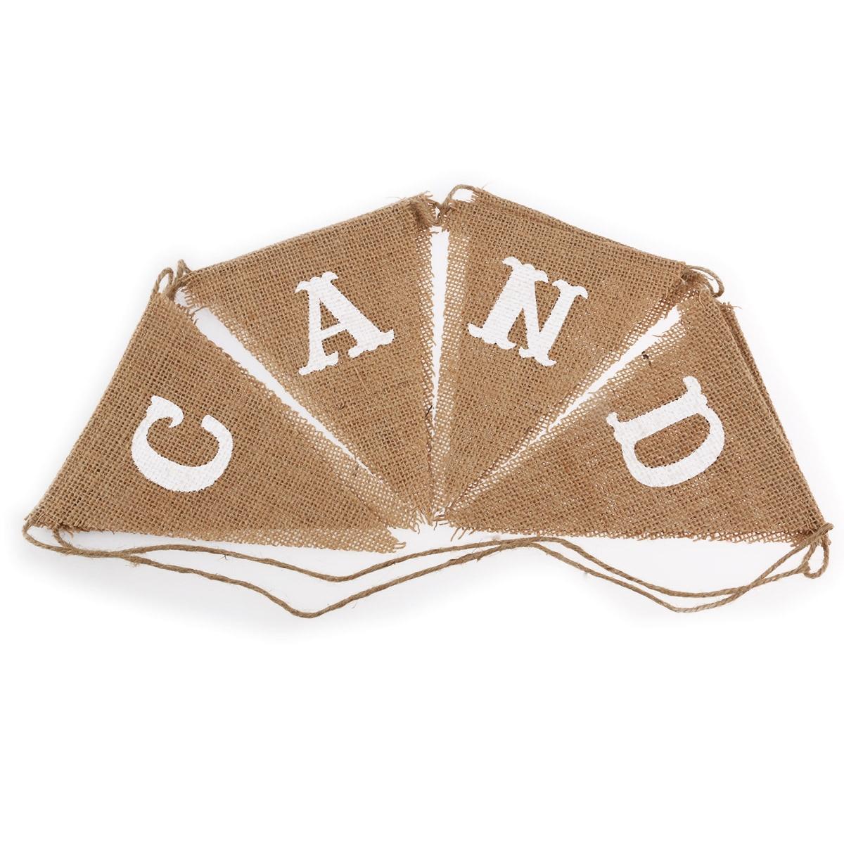 8db CANDY BAR zsákvászon zászló banner esküvői dekoráció - Ünnepi és party kellékek