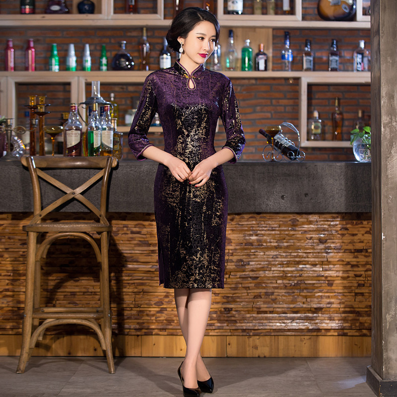 New Purple Gold Stamping Women Velvet Cheongsam Chinese Vintage Mid-Calf Sexy Dress Handmade Button Slim Qipao Plus Size 4XL