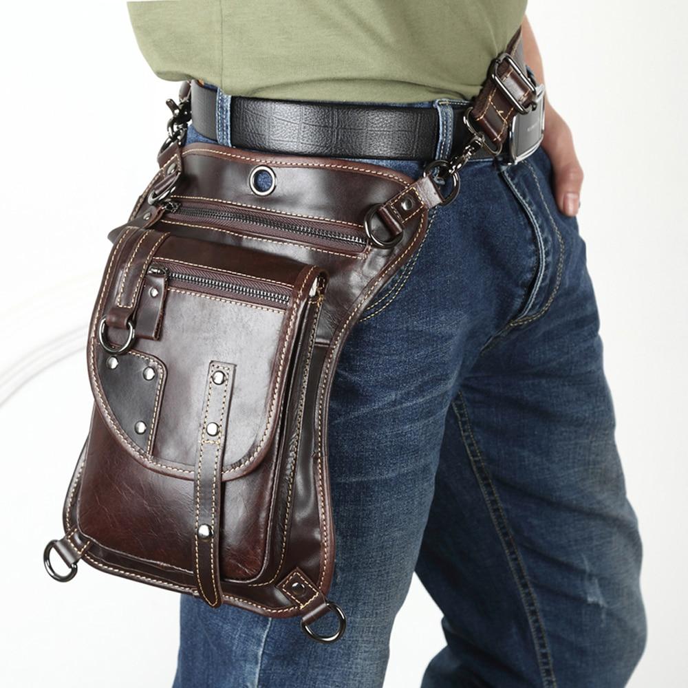 Leather Men Design Casual Messenger Shoulder Mochila Bag Fashion Multifunction Waist Belt Pack Drop Leg Bag Tablet Pouch 211-12c Fine Jewelry