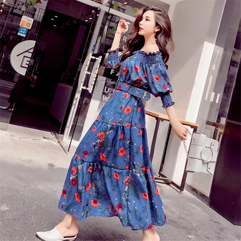 2018 New fashion women summer dress sashes Bohemian Style sexy beach  holiday dresses chiffon print Korean slash neck clothing-in Dresses from  Women s ... f4726d867ada