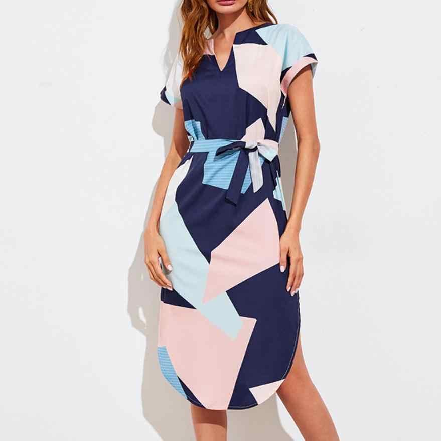 Vestido de kancoold nueva Alta Calidad geometría con cuello en V de manga corta vendaje vestido puntas verano vestido mujeres AP24