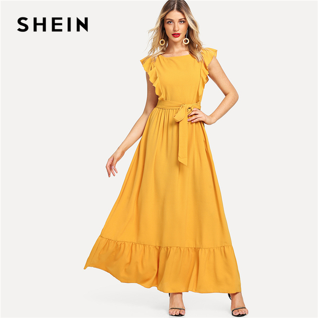 00ccd0416b SHEIN Ginger Elegant Highstreet Frill Shoulder And Hem Self Belted Solid  Maxi Modern Lady Dress Summer