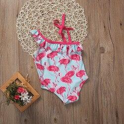 2017 От 1 до 6 лет купальный костюм с рисунком птицы для девочек, купальный костюм с одним плечом пляжная одежда для маленьких детей 4