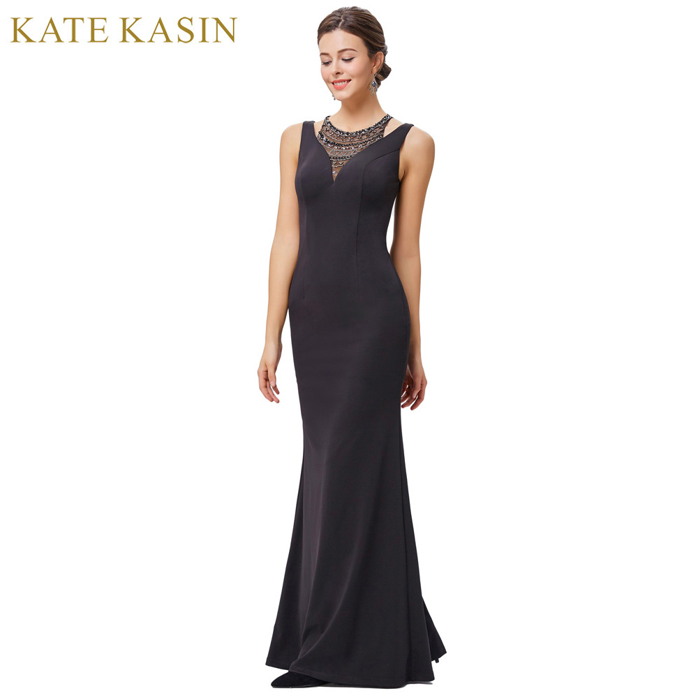 Kate Kasin Cheap Prom Dresses 2018 High Neck Red Carpet Gowns Party Evening Formal Dress Robe De Soiree Black Long Prom Gown