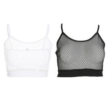 Women Sexy Sheer Mesh Camisole Hollow Out Fishnet Solid Color Bralette Vest Strap Sport Night Party Club Wear