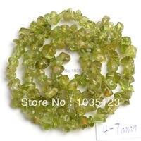 4 7mm Pretty Peridot Freeform Gravel Loose Beads Strand 16 Jewelry Making Free Shipping